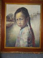 Ponytail Girl 1973 26x22 Original Painting by Wai Ming - 7