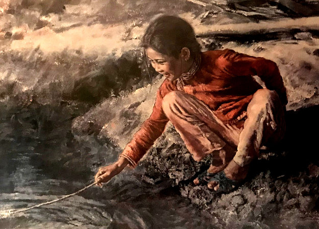 Fish Girl With Stick AP Limited Edition Print by Wai Ming