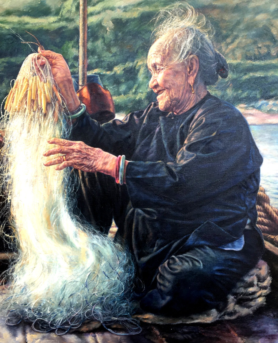 Happy Grandmother 1986 40x34 Super Huge Original Painting by Wai Ming