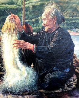 Happy Grandmother 1986 40x34 Huge Original Painting - Wai Ming