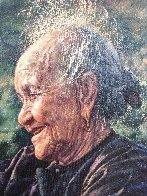 Happy Grandmother 1986 40x34 Super Huge Original Painting by Wai Ming - 5