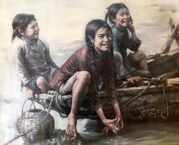 Untitled (Three Girls)  27x32 Hing Kwok Original Painting by Wai Ming