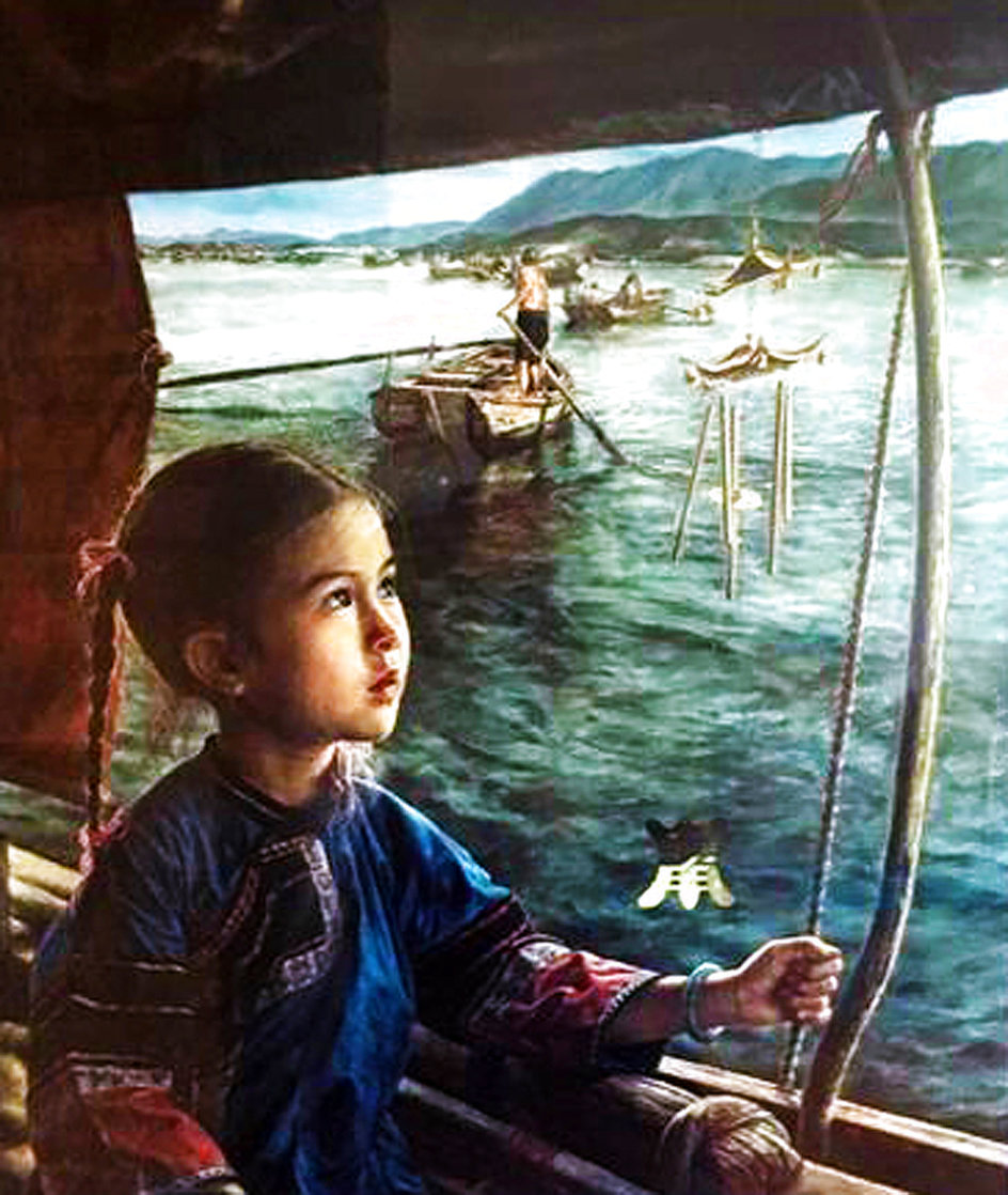 Bright Eyes And The Windchime 1991 Limited Edition Print by Wai Ming