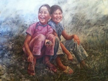 Two Happy Fish Girls 1976 38x50 Original Painting by Wai Ming