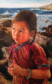 Listening to the Surf 1995 34x22 Original Painting - Wai Ming