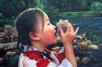 Water From Yosemite 1993 38x50 Original Painting by Wai Ming