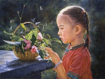 Beautiful Morning 1995 36x48 Huge Original Painting - Wai Ming