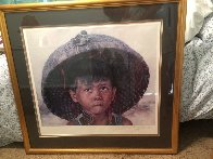 Boy With Bird 1979 23x38 Super Huge  Limited Edition Print by Wai Ming - 1