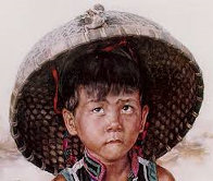 Boy With Bird 1979 23x38 Super Huge  Limited Edition Print by Wai Ming - 0