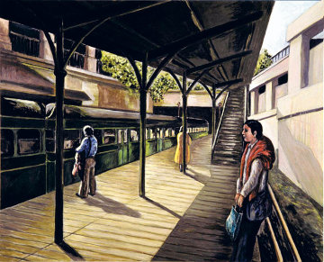 Old Sarria Station 2001 24x19 Original Painting - Miquel Vila