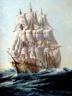 Untitled Ship Painting 1980 28x22 Original Painting - Ed Miracle
