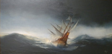 Untitled Seascape with Ship 1968 32x56 Huge Original Painting - Ed Miracle