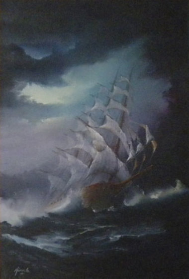 Untitled Seascape with Boat 1968 24x18 Original Painting by Ed Miracle