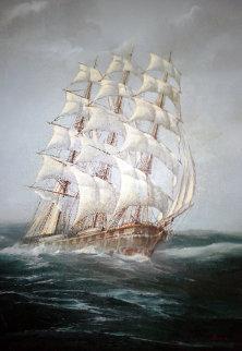 Untitled (Sailing Ship) 38x26 Huge Original Painting - Ed Miracle