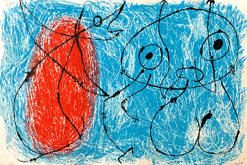 Le Lezard Aux Plumes D'or  (in Blue, Black & Red) 1967 Limited Edition Print - Joan Miro