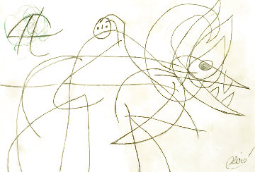 Femme Oiseau Drawing 1977 8x12 HS Works on Paper (not prints) - Joan Miro