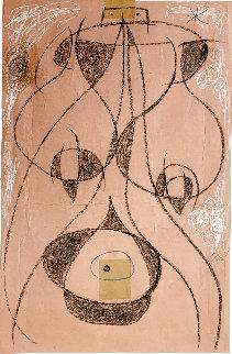 Femme Dans La Nuit Drawing 1977 HS  26x17 Drawing - Joan Miro