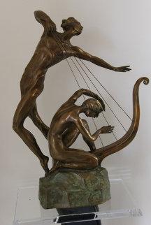 Harp Player Bronze Sculpture 25 in Sculpture - Misha Frid