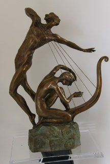 Harp Player Bronze Sculpture 25 in Sculpture by Misha Frid