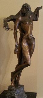 Cello Player Bronze Sculpture 2000 29 in Sculpture - Misha Frid