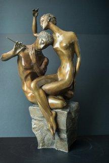 Flute Player Bronze Sculpture 1999 22 in  Sculpture by Misha Frid