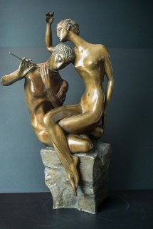 Flute Player Bronze Sculpture 1999 22 in  Sculpture by Misha Frid