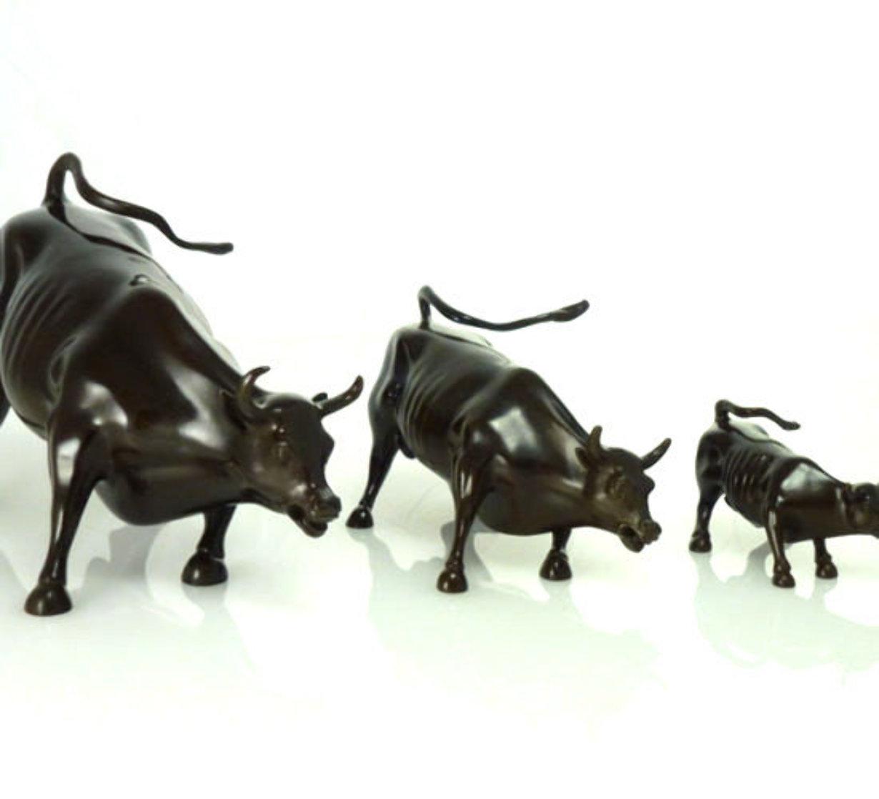 Wall Street Bulls Bronze Sculptures (Set of 3) Sculpture by Arturo Di Modica