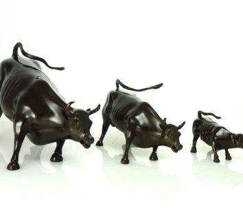 Wall Street Bulls Bronze Sculptures (Set of 3) 2004 12 in Sculpture - Arturo Di Modica