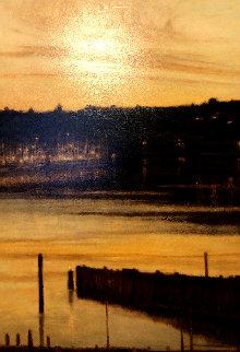 Harbour Lights 2000 58x38 Original Painting - Thomas Monaghan
