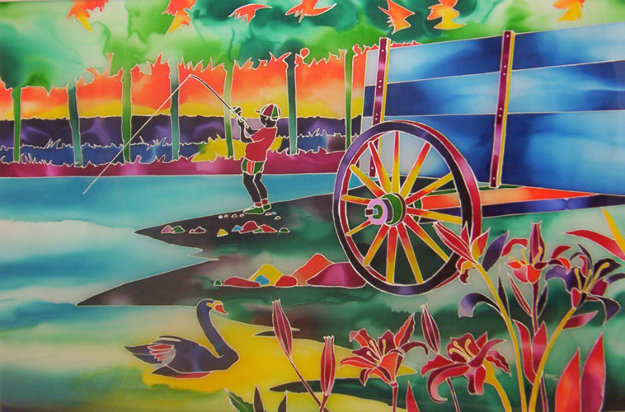 Fishing Hole King 30x40 Original Painting by Ron Mondz