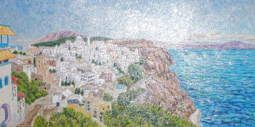 Santorini 20x31 Original Painting - Diane Monet