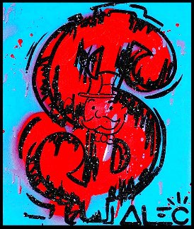 Money Screen 2021 20x16 Original Painting - Alec Monopoly