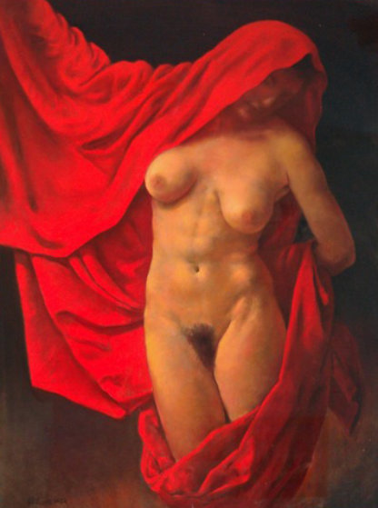Lady With Red Cape Pastel 46x37 by Ron Monsma