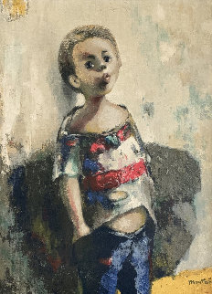 Untitled Portrait of a Boy 34x28 Original Painting - Jose Montanes