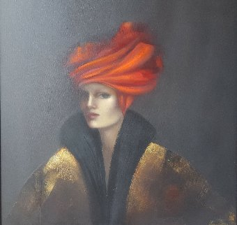 Red Hat 1999 47x37 Original Painting - Victoria Montesinos