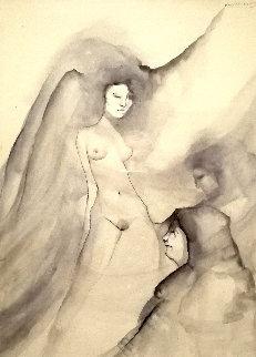 Self Portrait 1982 50x53  Huge  Watercolor - Victoria Montesinos