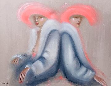 Friends 1982 53x63 Huge Original Painting - Victoria Montesinos