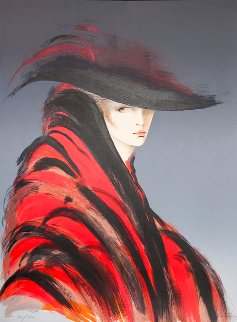 Woman in Red Cape 37x46 Huge Limited Edition Print - Victoria Montesinos