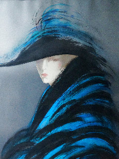 Woman in Blue Cape - Huge 37x46  Limited Edition Print - Victoria Montesinos