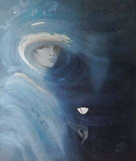 Woman Holding a Single White Rose Huge 47x48 Limited Edition Print - Victoria Montesinos
