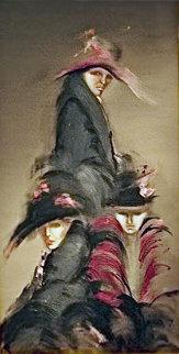 Damas Retiradas 1984 78x43 Huge Original Painting - Victoria Montesinos