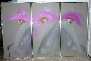 Woman Triptych 48x72 Super Huge Original Painting - Victoria Montesinos