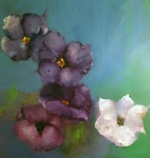 Untitled Flowers 64x64 Original Painting - Victoria Montesinos