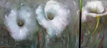 From My Winter Garden Diptych 2014 30x60 Original Painting - Victoria Montesinos