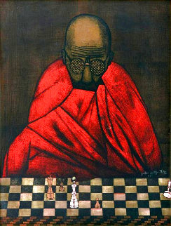 Chess Match 1985 Limited Edition Print - Gustavo Montoya