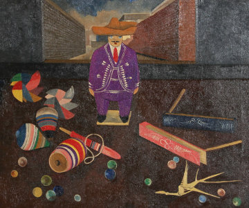 Man With Toys 30x33 Original Painting - Gustavo Montoya