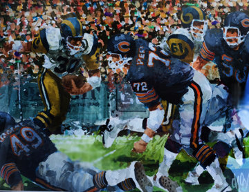 Chicago Bears NFC Championship Game, Set of 2 Watercolors 1986 20x16 Watercolor by Wayland Moore
