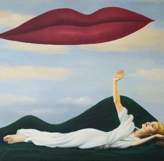 Lovers (Ded. Man Ray) 2016 40x40 Super  Huge Original Painting - Gabriella  Moore
