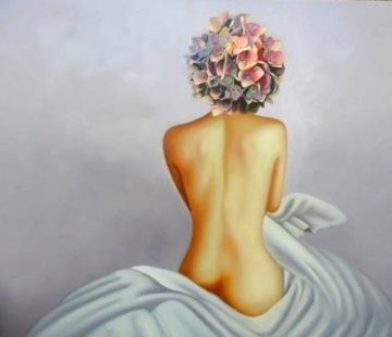 La Femme Fleur (Hommage a Picasso)  2018 41x48 Super Huge Original Painting - Gabriella  Moore