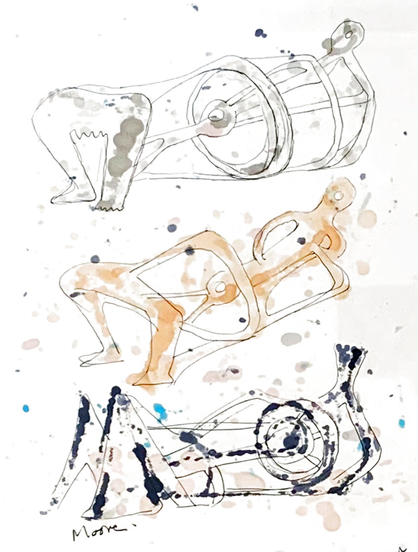 Three Reclining Figures Ink and Watercolor Drawing 1962 11x9 HS Works on Paper (not prints) by Henry Moore